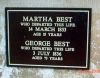 Chamberlain, Martha (1775-1833) and Best, George 1758-1836) - plaque