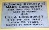 Longhurst, Mark, 1859-1949) and Roughley, Lilla Beatrice Eva (1869-1949) - memorial tablet